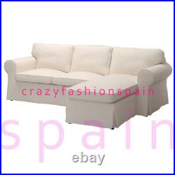IKEA EKTORP Cover for 3-seat sofa, with chaise longue/Lofallet beige
