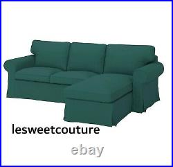 IKEA EKTORP Cover for 3-seat sofa, with chaise longue/Totebo dark turquoise