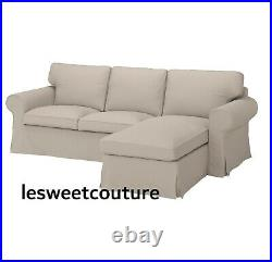 IKEA EKTORP Cover for 3-seat sofa, with chaise longue/Totebo light beige