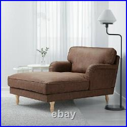 IKEA STOCKSUND Chaise Longue Brown Antique Leather Effect Chair Sofa