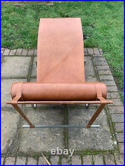 Iconic Pk24 lounge chaise Relax Chair in Tan Leather By Poul Kjaerholm Replica
