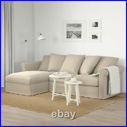 Ikea GRÖNLID 3 Seater Sofa with Chaise Longue & In-built Storage, Natural Colour