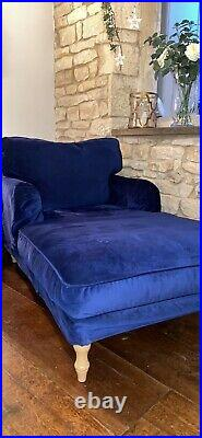 Ikea Stocksund Chaise Armchair In Blue velvet Immaculate Condition