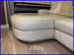 Ivory 3-seater leather L-shaped sofa with chaise longue less than 2 years old