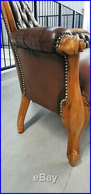 LEATHER ANTIQUE STYLE CHAISE LONGUE LOUNGE LEATHER BROWN b121201