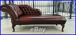 LEATHER CHESTERFIELD CHAISE LONGUE LOUNGE BUTTONED Day Bed OXBLOOD R171201