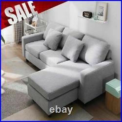 LEFT&RIGHT Corner Sofa Grey Fabric Seater Sofa Chaise Longue Vintage Couches New