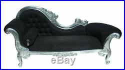 Large Chaise Longue Gilt Silver Leaf Black French Ornate Lounge Day Bed Sofa