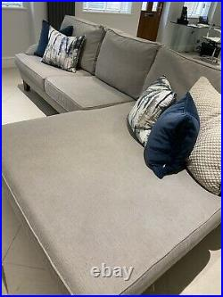Large Chaise Lounge Sofa Grey