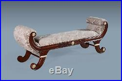 Large Part Gold Leaf Mocha Window Seat French Stool Bench Chaise Longue Lounge