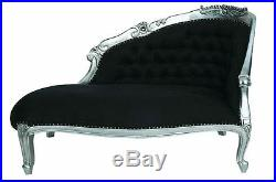 Large Silver Leaf Black French Loveseat Sofa Chaise Longue Lounge Day Bed