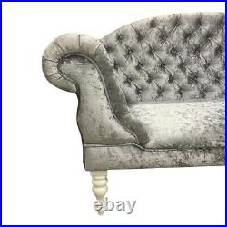 Large Silver Velvet Chesterfield Double end Chaise Lounge Sofa Chair SALE
