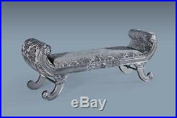 Large Statement Antique Silver Grey French Bench Ottoman Chaise Longue Lounge