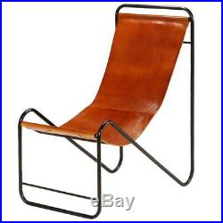 Leather Lounge Chair Vintage Metal Brown Relax Modern Lounger Genuine Retro Real