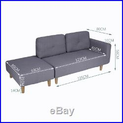 Linen Fabric Sofa Corner Couch with Stool Footrest 2 / 3 Seater Chaise Longue