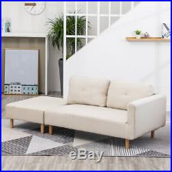 Linen Sofa Corner Couch 2 Seater Chaise Longue Creamy White with Stool Footrest