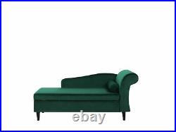 Living Room Right Hand Velvet Chaise Lounge with Storage Emerald Green Luiro