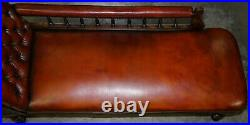 Lovely Restored Victorian Chesterfield Cigar Brown Leather Chaise Lounge Daybed