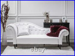 Luxury Faux Leather Chaise Lounge White Clearance Price
