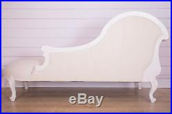 Luxury French Cream Chateau Carved Chaise Longue / French Sofa