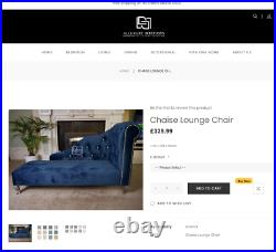 Luxury Velvet Chaise Longue Lounge Chair Chesterfield Stool Seat Fabric 2 Seater