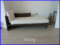 Minotti Chaise Lounge Luggage Collection Brown leather new reupholster cushions