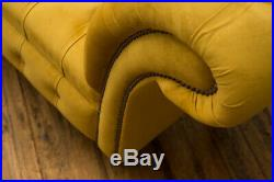 Modern Handmade Mustard Yellow Bedroom Chesterfield Chaise Lounge, Window Seat