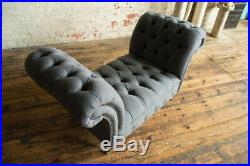 Modern Handmade Slate Grey Wool Bed End Chesterfield Chaise Lounge, Window Seat