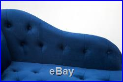 Modern Large Chaise Longue Blue Velvet Tufted Lounge Day Bed Sofa Couch Bench UK