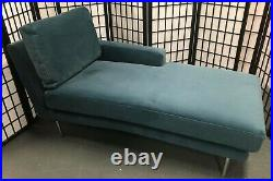 NEW Made. Com Dallas teal blue velvet chaise sofa section right hand