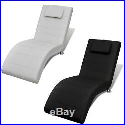 New Artificial Leather Chaise Longue Sofa Chair with Pillow Quality White Black