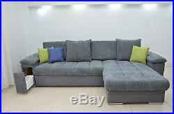 New Corner Sofa Bed''mike'' Comfy, Cord Fabric, Drawer In The Arm, All Colours