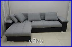 New Corner Sofa Bed''mike'' Comfy, Modern Quilting, Eco Leather And Fabric