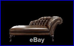 New Handmade Chesterfield Genuine Real Leather Chaise Lounge Day Bed Antique