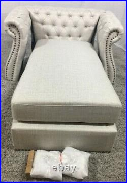 New Lancelot Modern Glam Chesterfield Chaise Lounge In Beige RRP £469 Z15 C74
