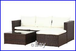New Poly Rattan Outdoor Garden Furniture Set Brown Malaga Cushion Patio Lounge