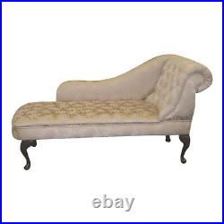 Oatmeal Damask Tufted Chesterfield Chaise Lounge Sofa Bedroom Accent Chair Bench