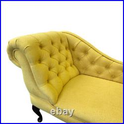 Ochre Linen Tufted Chesterfield Chaise Lounge Sofa Bedroom Chair Bench