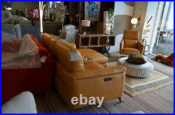 Odyssey Chaise Sofa Yellow Leather Power Recliner Corner Suite with Cupholders