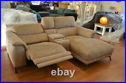 Odyssey Corner Sofa Beige Fabric Electric Recliner Chaise Suite with Cupholders