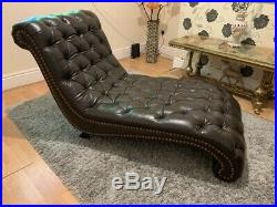 Original leather chesterfield chaise longue
