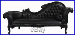 Ornate Black Chaise Sofa Lounge Faux Leather Rococo Baroque Home Business