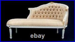 Ornate French L'Amour Chaise Longue Sofa White & Gold Lounge Bedroom Hall Seat