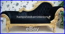 Ornate Medium French Black Velvet Chaise Longue Gold Free Delivery Lounge Sofa
