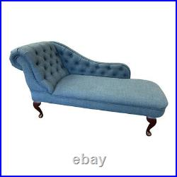 Pacific Blue Tufted Chesterfield Chaise Lounge Sofa Bedroom Chair Bench