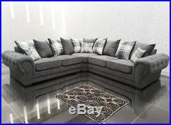 Parker Chesterfield Corner Sofa Grey Collection Set Fabric Linen