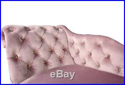 Pink Velvet Tufted Buttoned Chesterfield Chaise Lounge Bedroom Accent Chair