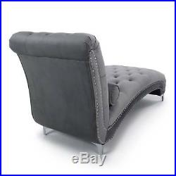 Premium Grey Chesterfield Brushed Velvet Tufted Chaise Lounge