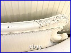 Provencale Chateau Antique White Cream French Upholstered Chaise Longue / Sofa