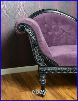 Purple Chaise Lounge Hand Carved Stunning Condition, No Reserve